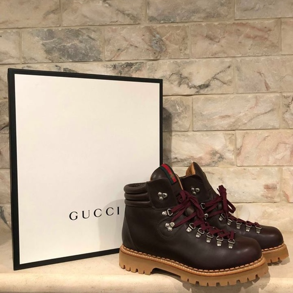 1441a30f3a3 Gucci Tracker Hiking Brown Leather Mens High Top